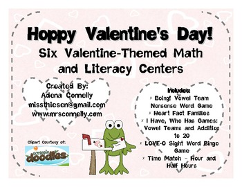 Hoppy Valentine's Day!  Six Valentine's Day Theme Math and Literacy Centers