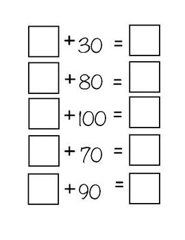Hops of 10 worksheet