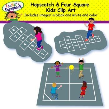 Hopscotch & Four Square Kids Clip Art