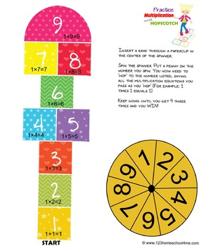 Hopscotch Multiplication Game (for individual math practice) 2nd-4th Grade