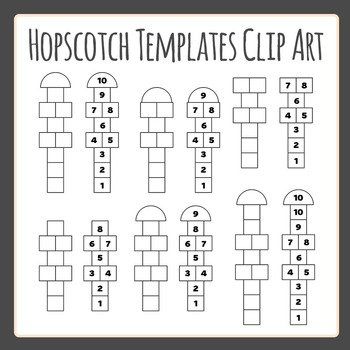Hopscotch Template / Layouts Clip Art Set for Commercial Use