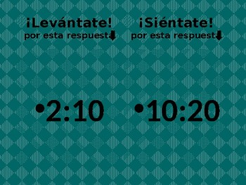 Hora (Time in Spanish) Levántate Siéntate