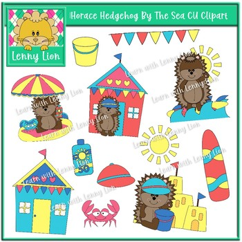 Horace Hedgehog By The Sea CU Clipart