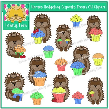 Horace Hedgehog Cupcake Treats CU Clipart