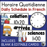 Horaire quotidienne - Daily Schedule Cards in FRENCH