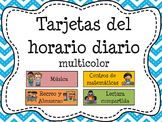 62 Tarjetas del horario diario/ Daily Schedule Cards in Spanish for Kindergarten