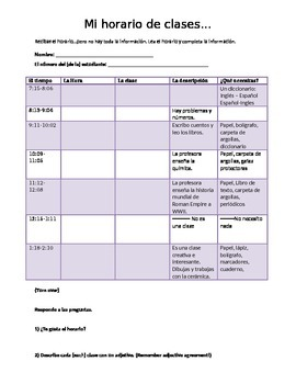 Horario (Fill in the schedule)