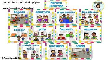 Horario Ilustrado Preescolar - Spanish Prek Schedule
