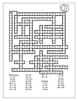Horas (Time in Portuguese) Crossword
