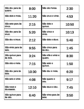 Horas (Time in Portuguese) Dominoes