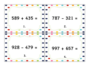 Horizontal Addition & Subtraction Task Cards