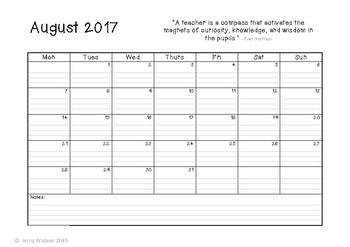 Horizontal Calendar 2017 - 2018