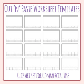 Horizontal Cut and Paste Worksheet Templates / Layouts Clip Art Commercial Use