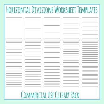 Horizontal Divisions Worksheet Templates / Layouts Clip Art for Commercial Use
