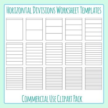 Horizontal Divisions Worksheet Templates / Layouts Clip Ar