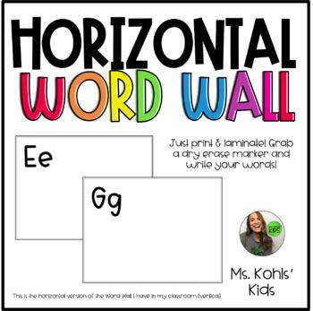 Horizontal Dry Erase Word Wall