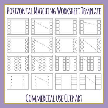 horizontal matching worksheet template layout clip art set for