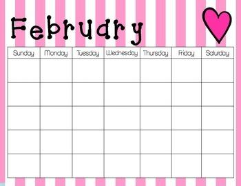 Horizontal Monthly Calendars - English
