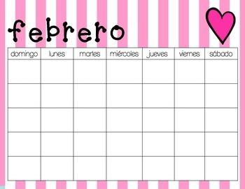 Horizontal Monthly Calendars - Spanish