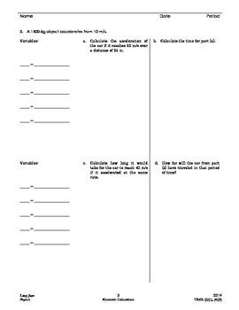 Kinematics: Horizontal Motion Calculations
