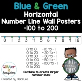 Horizontal Number Line Wall Posters | Integers -100 to 200 | Blue and Green