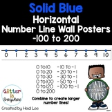 Horizontal Number Line Wall Posters   Integers -100 to 200   Solid Blue