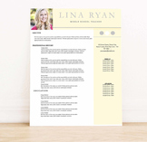 "Resume Template Set 6 pkg MS Word ""Lina Ryan"""