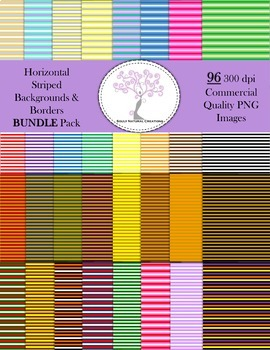 Horizontal Striped Backgrounds and Borders BUNDLE Pack