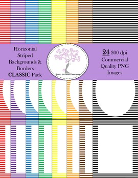 Horizontal Striped Backgrounds and Borders CLASSIC Pack