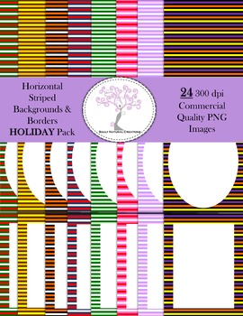 Horizontal Striped Backgrounds and Borders HOLIDAY Pack