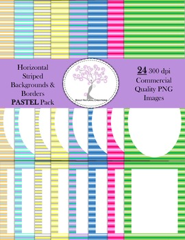 Horizontal Striped Backgrounds and Borders PASTEL Pack