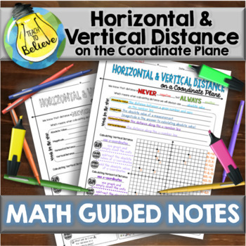 Horizontal & Vertical Distance on a Coordinate Plane - Guided Notes