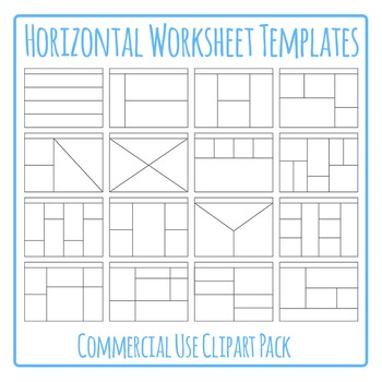 Horizontal Worksheet Templates / Layouts Clip Art Pack for Commercial Use