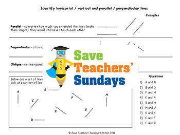 Parallel and perpendicular lines lesson plans, worksheets