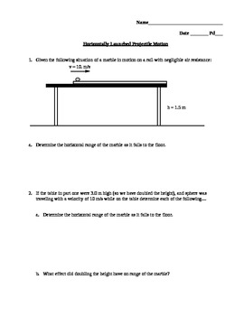Horizontally Launched Projectile Motion with solutions and