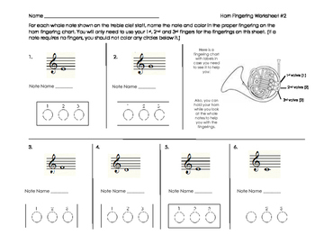 Horn Fingering Worksheet 2 for Band Beginners