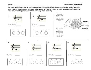 Horn Fingering Worksheet for Band Beginners