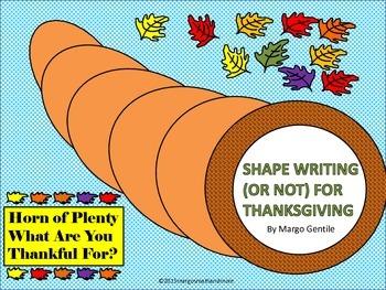 Horn of Plenty Shape Writing Thanksgiving