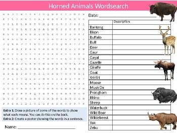 Horned Animals Wordsearch Sheet Starter Activity Keywords Biology Nature