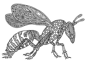 Hornet Wasp Insect Zentangle Coloring Page