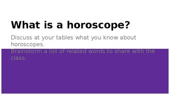 Horoscope Literacy activity
