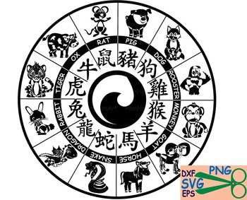 Horoscope signs Chinese zodiac EPS SVG clipart school reward cut monogram 30s