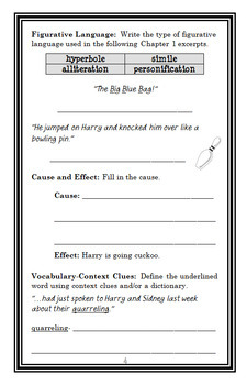Horrible Harry Goes Cuckoo (Suzy Kline) Novel Study / Comprehension  (21 pages)