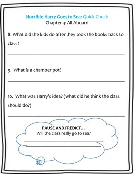 Horrible Harry Goes to Sea Guided Reading Packet