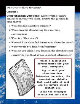 Horrible Harry Goes to the Moon ELA Reading Novel Study Guide Complete