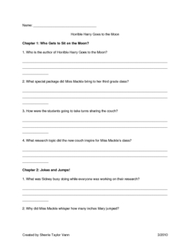 Horrible Harry Goes to the Moon by Suzy Kline Comprehension Questions