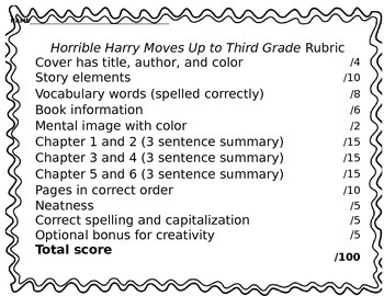 Horrible Harry Moves Up to Third Grade Test, Rubric, and Vocabulary