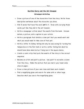 Horrible Harry and the Ant Invasion Chapter Comprehension Packet