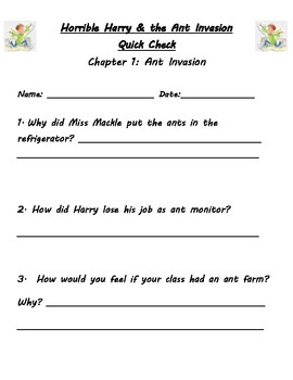 Horrible Harry and the Ant Invasion Guided Reading Packet
