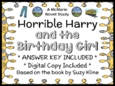Horrible Harry and the Birthday Girl (Suzy Kline) Novel Study / Comprehension